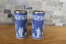 "Pair of Antique Wedgwood Blue Jasper Ware Apollo Muses 6"" Spill Vases (c.1920)"