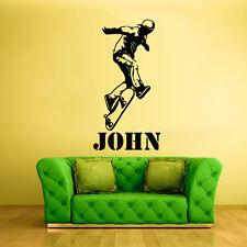 Wall Vinyl Sticker Decal Design Kids Roller Skater Skate Custom Name (Z345)