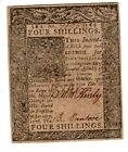 1776, Delaware, Colonial Currency, four shillings, President John McKinly signed