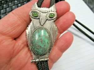 Sterling Silver Navajo Turquoise Belly Green Eyes Folky Owl Bolo Tie Nice!