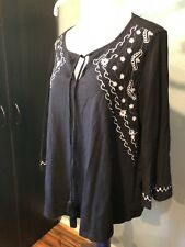 Lane Bryant Top Black White Embroidered Bell Sleeves 14 16