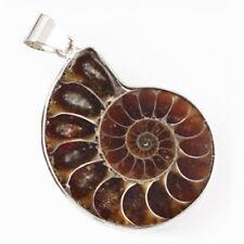 100% Natural Ammonite Fossil Gemstone Handmade Jewelry Silver Necklace Pendants