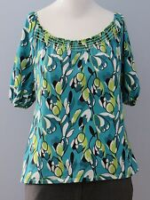ANN TAYLOR Petites Size M Green Floral Short Sleeves Blouse