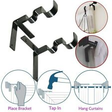 Durable 2 Pcs Double Curtain Rod Holder Hangers Window Frame Curtain Accessories