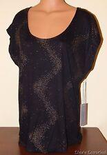 NWT Women's L Jennifer Lopez JLo Short Sleeve Shine Tee Black Gold
