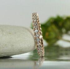 1.25CT Round Cut Diamond 14k Rose Gold Over Anniversary Wedding Women Band Ring