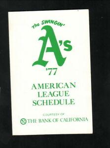 Oakland Athletics--1977 Pocket Schedule--Bank of California