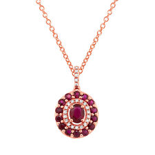 1.12 TCW Oval Cut Ruby and Round Diamond 14K Rose Gold Pendant Necklace