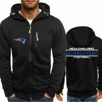 New England Patriots Fan's Hoodie Sporty Jacket Sweater Zipper Coat Autumn Tops
