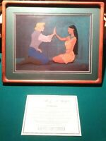 """POCAHONTAS, JOHN SMITH """"TWO WORLDS"""" HAND PAINTED L.E. #281/500 NEW,CUSTOM FRAMED"""