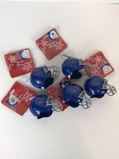Boise State University Christmas Holiday Football Helmet Ornament Lot Of 5 Blue