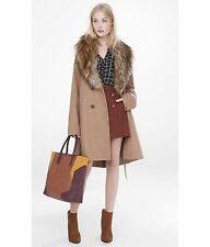 EXPRESS Large CAMEL EXTREME FAUX FUR COLLAR BELTED WOOL TRENCH COAT $228 L