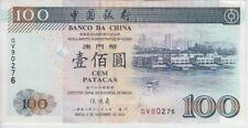 MACAO BANKNOTE P98 100 PATACAS 2003 PREFIX GV BANCO DA CHINA, VF-EF