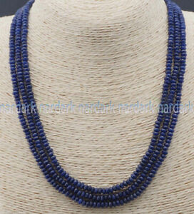 3 Rows 2X4mm Natural Faceted Dark Blue Sapphire Gems Rondelle Beads Necklaces