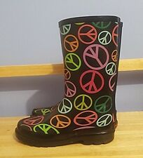RAMPAGE BLACK RAINBOW PEACE SIGN RUBBER STEEL SHANK SOLE RAIN BOOTS SIZE 4