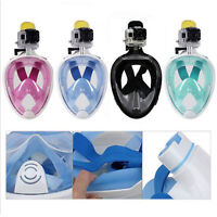 Swimming Diving Breath Full Face Mask Surface Snorkel Scuba for GoPro L/XL/S/M `