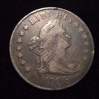 1806 Draped Bust Quarter F/VF Very Fine Liberty 25c Dollar Silver Flowing Hair