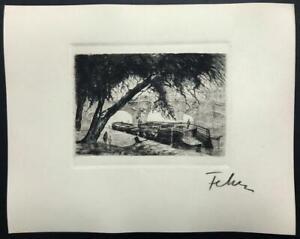 ETCHING French ~ ENNERIE ALEXANDRE FEHER ~ 1920s Quai Pont Neuf PARIS