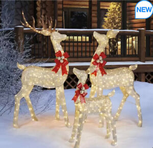 76 Inches  Indoor / Outdoor Christmas Reindeer Family Set of 3 with LED Lights