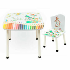 Childrens Wooden Table and Chair set Kids Toddlers Child with 2 Chairs Nursery