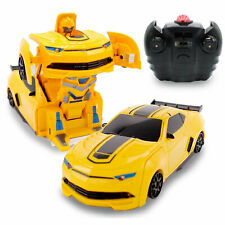 Kids Toys RC Wall Climbing Transforming Robot Car For Boys 1:24 Scale Yellow