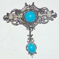 Vintage turquoise blue lucite cabochon faux pearl articulated silver tone brooch
