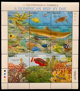 DOMINICA REEF BY DAY STAMPS SHEET 1992 MNH MARINE LIFE SEA TURTLE CORAL SHARK