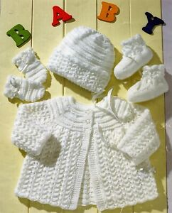 Knitting pattern Baby MATINEE COAT BONNET MITTS & BOOTEES 36-51 cm 14-20 ins DK