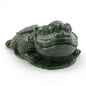 Green Genuine Natural Nephrite Jade 6 inch Money Frog Figurine