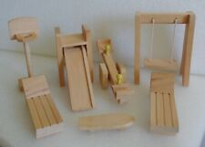 WOODEN DOLLHOUSE PLAYGROUND FURNITURE LOT SWING SLIDE SEESAW LOUNGES SKATEBOARD