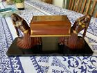 Antique Jacques Adnet wood cigar box French Egyptian revival Art Deco M2384