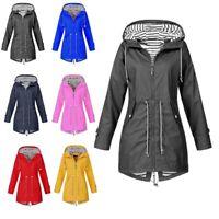 Womens Long Sleeve Hooded Wind Jacket Lady Outdoor Waterproof Rain Coat Plus