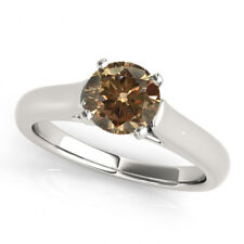 0.75 Carat Cognac Brown Diamond Solitaire Wedding Ring Stunning 14k White Gold
