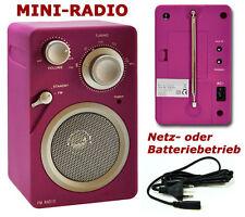 FM-Radio Netz- oder Batteriebetrieb Retroradio PINK Gummiert Baustellenradio