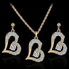 A-OK Love Heart Jewelry Set Gold Plated Necklace Earrings Crystal Wedding V.G