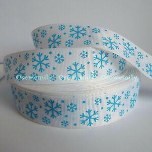 Per Metre - Snowflakes 25mm Printed Grosgrain Ribbon / Party Cake/ Hair Bows