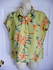 Harley Davidson L Blouse Shirt Minty Green Hibiscus Coral Silk Scripted Writing