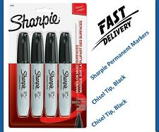 Sharpie Permanent Markers, Chisel Tip, Black, 4 Count 4-Count, Black