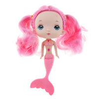 7inch Cute Mermaid Princess Doll with Pink Hair Wig for Girl Doll DIY Accs