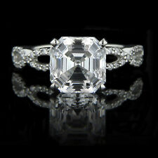 1.15 CARAT ASSCHER SOLITAIRE DIAMOND ENGAGEMENT RING IN 18K WHITE GOLD
