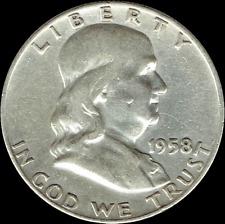 "A 1958 D Franklin Half Dollar 90% SILVER US Mint ""Average Circulation"""