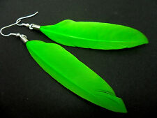A PAIR OF LONG GREEN FEATHER  DANGLY EARRINGS.