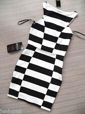 NWT bebe black white contrast colorblock boycon skirt top dress sexy S small hot