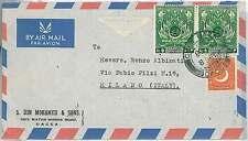 Storia POSTALE-Pakistan: Airmail copertura ALL' ITALIA 1955-Chek BAZAR \ Dacca