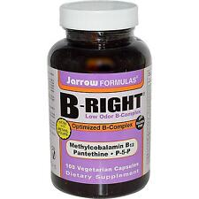 Jarrow Formulas B-Right - 100 Vcaps - Optimized Vitamin B-Complex - Low Odour