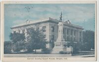 1934 DELPHI Indiana Ind Postcard Carroll County Court House Soldiers Monument