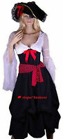 Medieval Pirate Maid Wench Fancy Dress Costume + Hat - 8 10 12 14 16 18 20