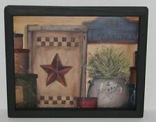 "Primitive Country Old TReasures Candle Checker board  9"" X 11"" WALL DECOR"