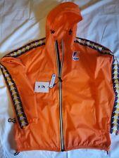 K-WAY Jacket Mens LARGE  Hooded  Shell Orange NWT packable windbreaker