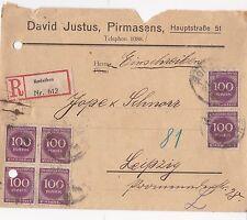 Alter R-Brief Infla 1923 Rodalben Leipzig Einschreiben Briefmarken 4er Block